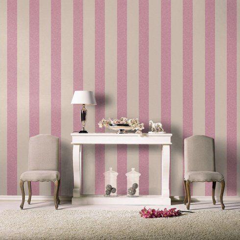 Rasch Fabric Stripe Pattern Lilac Beige Textured Wallpaper 448740