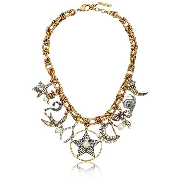 """Marc Jacobs Crystal Charms Statement Necklace, 17"""" + 2"""" Extender ($355) ❤ liked on Polyvore featuring jewelry, necklaces, crystal charms, crystal bib statement necklace, crystal stone necklace, marc jacobs necklace and crystal jewellery"""