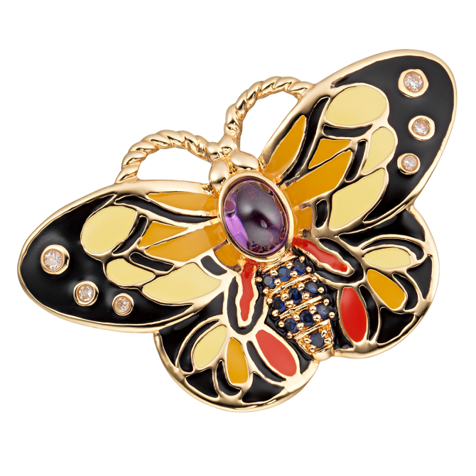 CIRO  BUTTERFLY pendant Featuring Cirolit white/blue/purple, enamel multicolor, gold plated jewelry