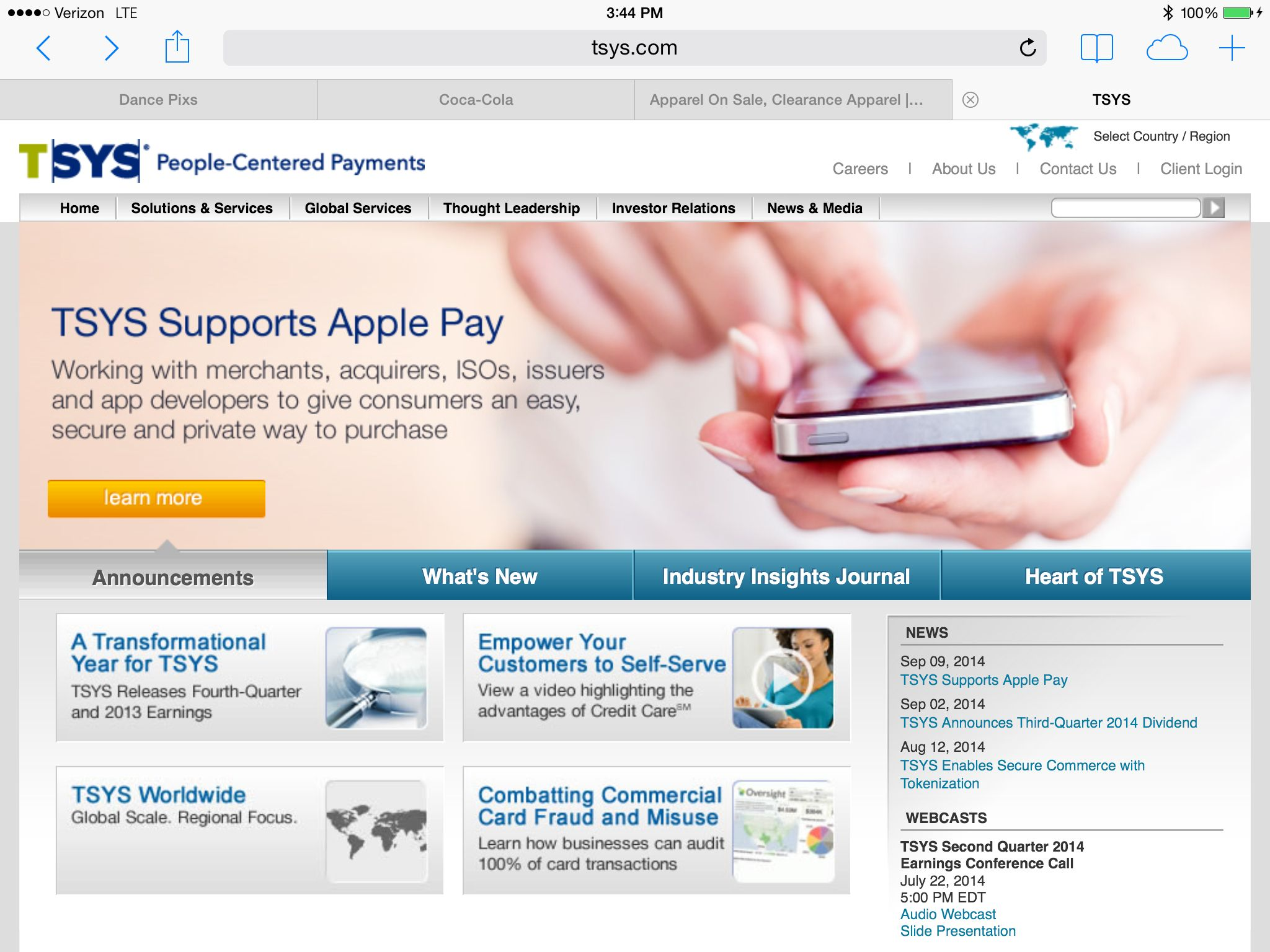 Tsys Supports Apple Pay Http Www Tsys Com News Releases 09092014tsysapplepay Cfm Leadership Articles Investor Relations Apple Pay