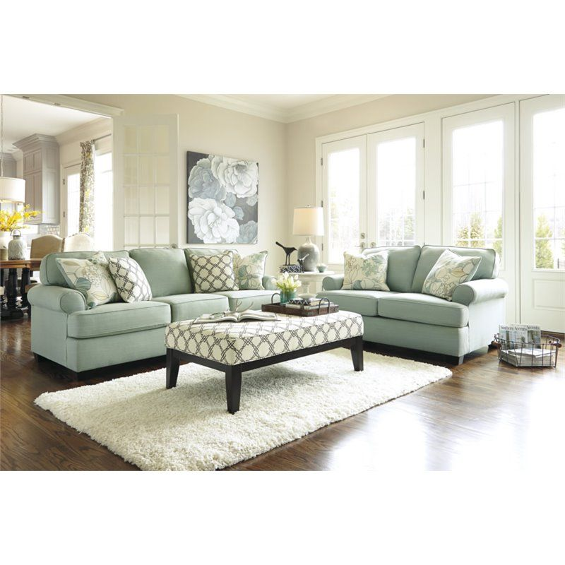 Ashley Daystar 3 Piece Fabric Sofa Set With Ottoman In Seafoam Glamorous Living Rooms Sets Review