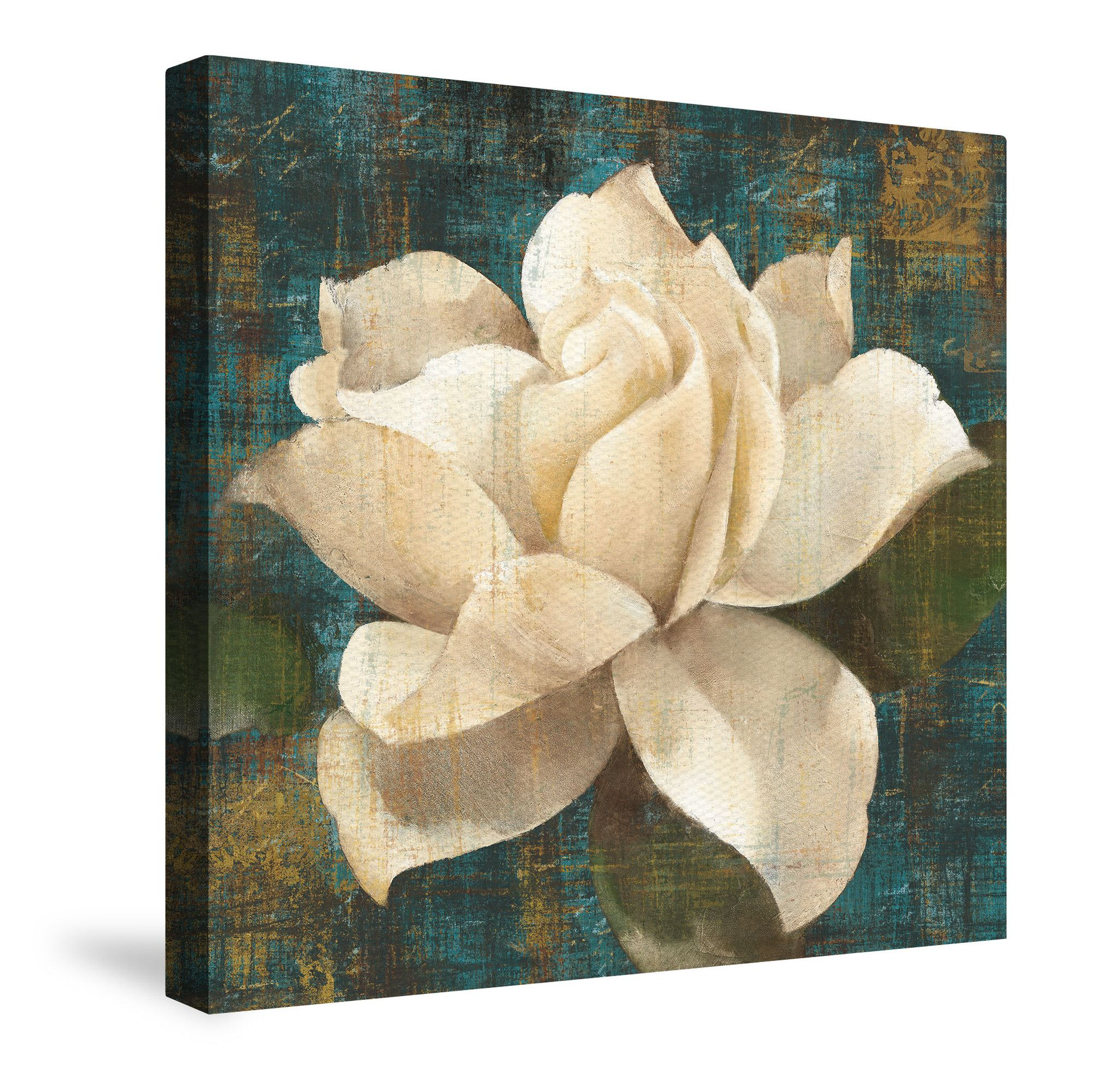Gardenia Blossom Turquoise Canvas Wall Art