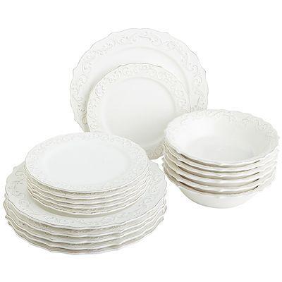 Antique Scroll 18-Piece White Dinnerware Set  sc 1 st  Pinterest & Antique Scroll 18-Piece White Dinnerware Set | Dinnerware Salad ...