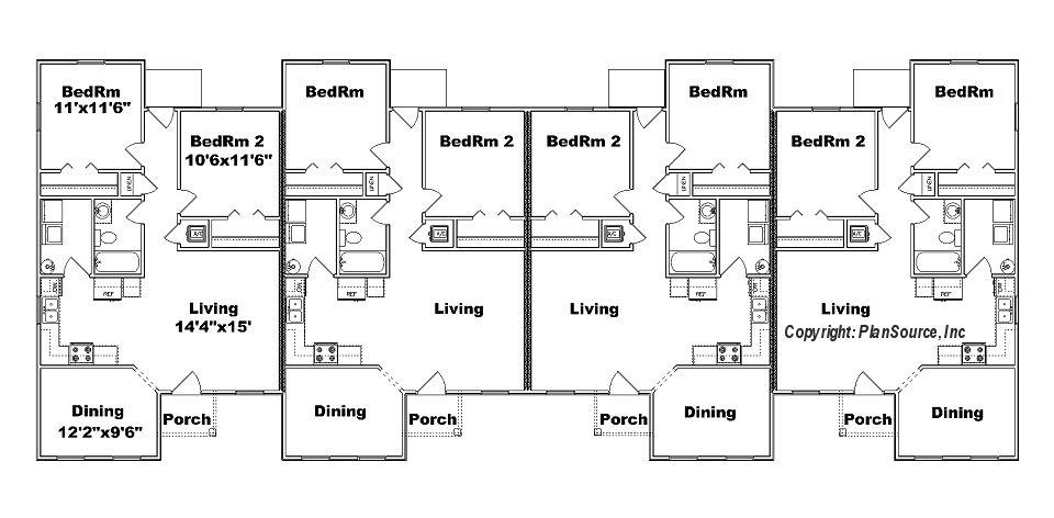 J949 4 Fourplex Floor Plan Beach House Floor Plans Carriage House Plans Duplex Plans