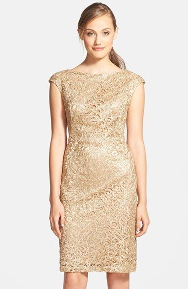 Sue Wong Lace Cap Sleeve Sheath Dress on shopstyle.com