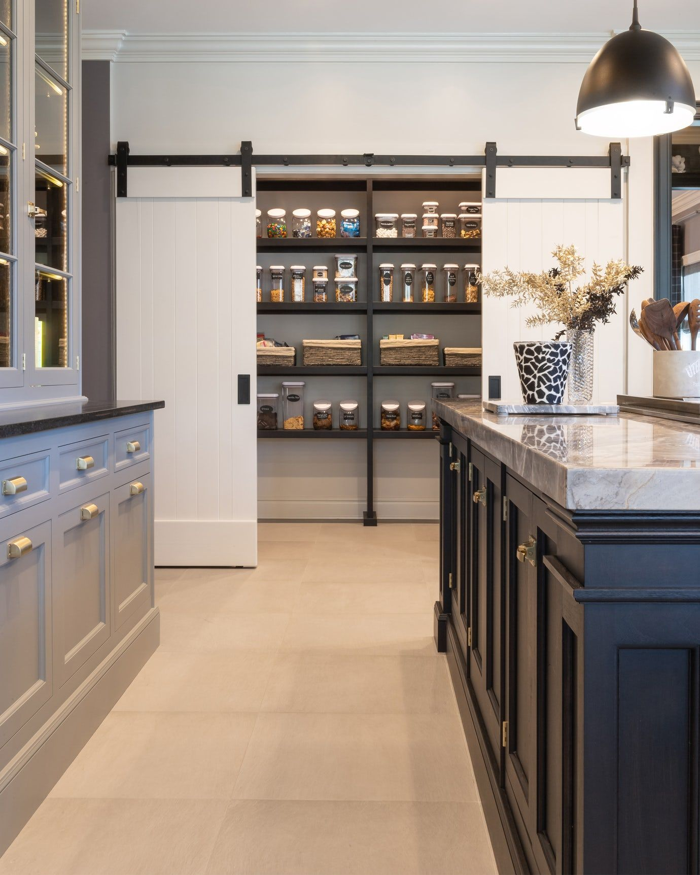 Traditional Style Handpainted Custom Cabinets With A View To The Custom Pantry Kitchen Butler S Pantry Desig Custom Pantry Pantry Design Kitchen Pantry Design