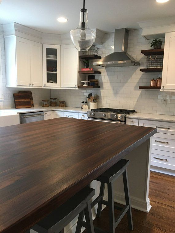 White Kitchen Island With Walnut Butcher Block Countertop : Black Walnut Butcher Block Counter Top / Island Top in 2019 Butcher block Casitas