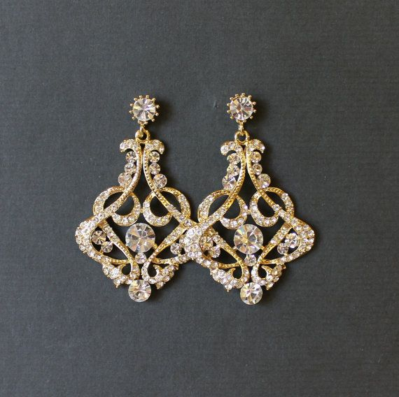 Gold Bridal Chandelier Earrings Crystal Jewelry Wedding Nina G
