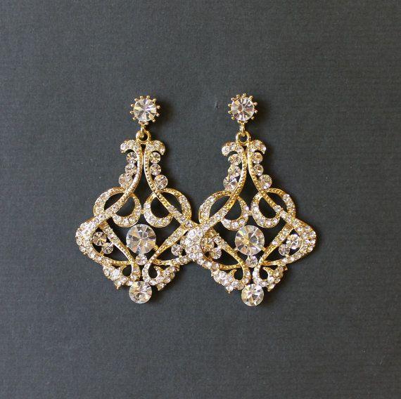 Gold Bridal Chandelier Earrings Crystal Jewelry Wedding Nina G