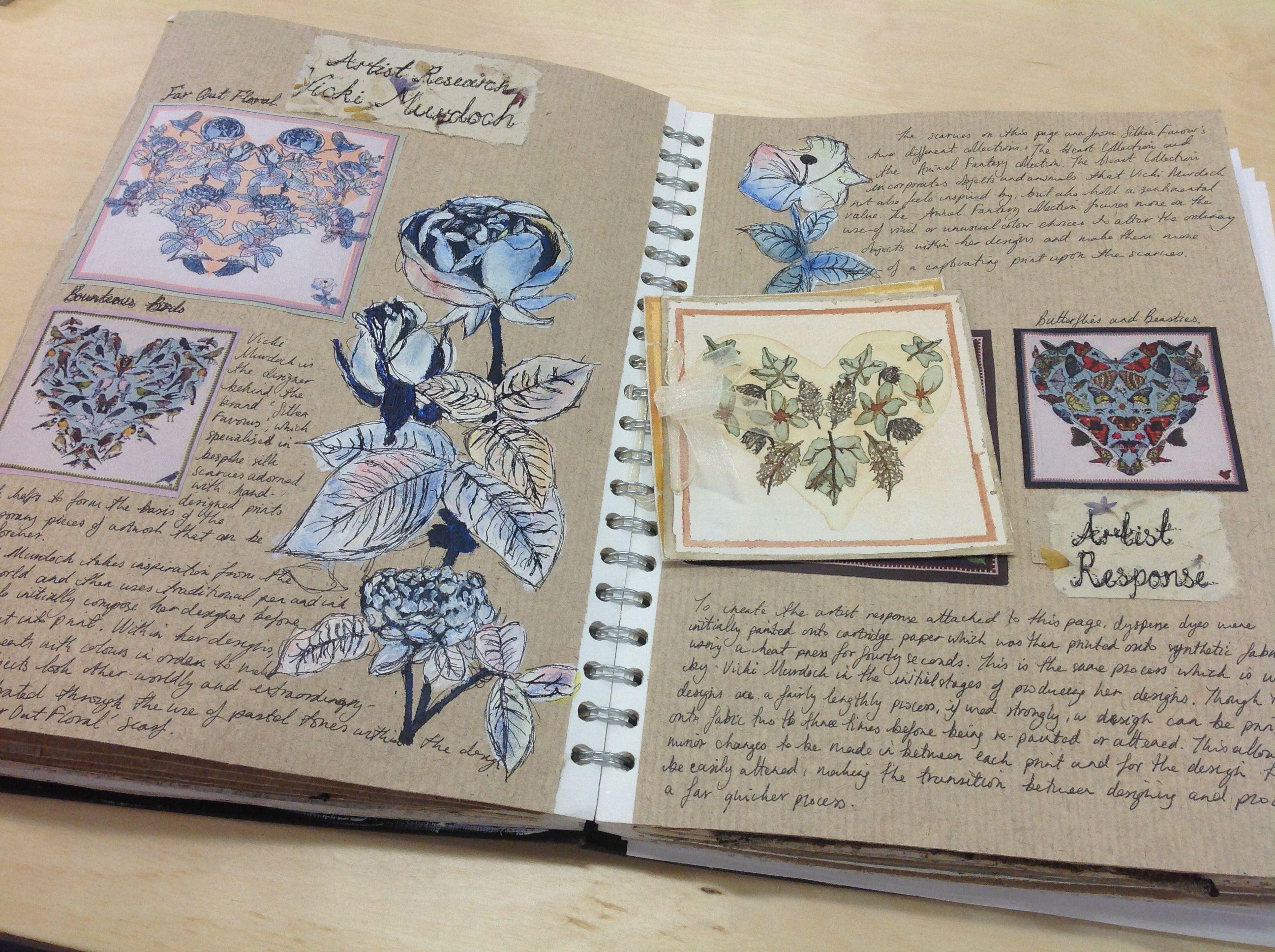 Artist research page unit 1 textiles sketch book gcse