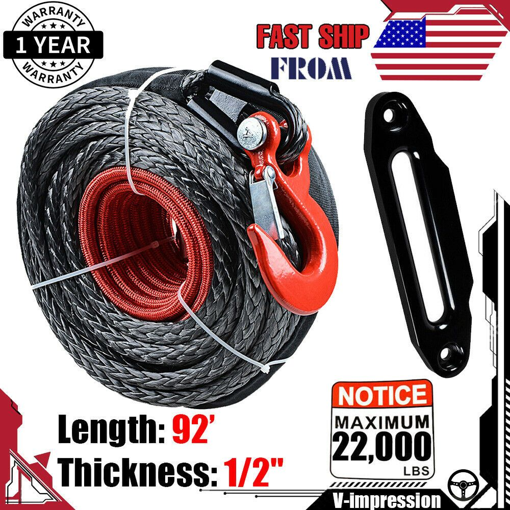 Ebay Sponsored 92 1 2 Black Synthetic Winch Rope Cable 22000lbs Red Hook Hawse Fairlead Synthetic Winch Rope Winch Rope Winch