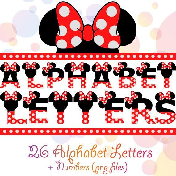 Minnie Mouse Alphabet Red Bow Dotted Numbers Letters Disney