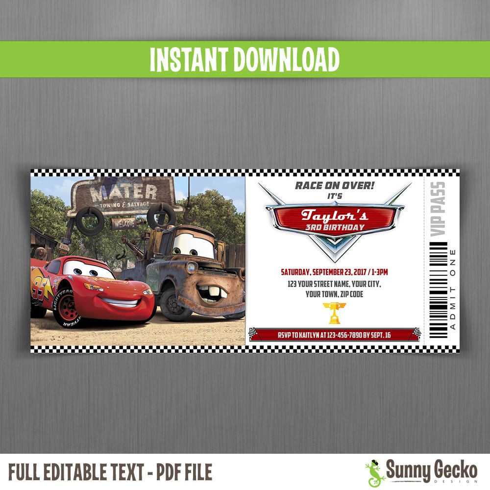 Disney Cars Birthday Ticket Invitations - Instant Download and ...