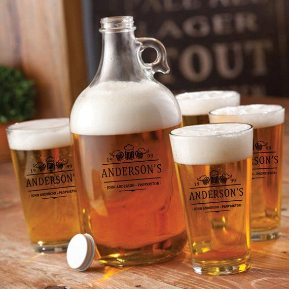 Personalized Craft Beer Growler with Pint Glass Set - Personalized Growler and Beer Glass Set - Groomsmen Gifts - Gifts for Him - GC1488 -   19 crafts beer growler ideas