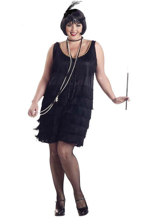 8bc6d8d348f Find the perfect Black Fringe Plus Size Flapper Dress for you at  MasqueradeExpress.com! We have a large selection of flapper fashion costumes .