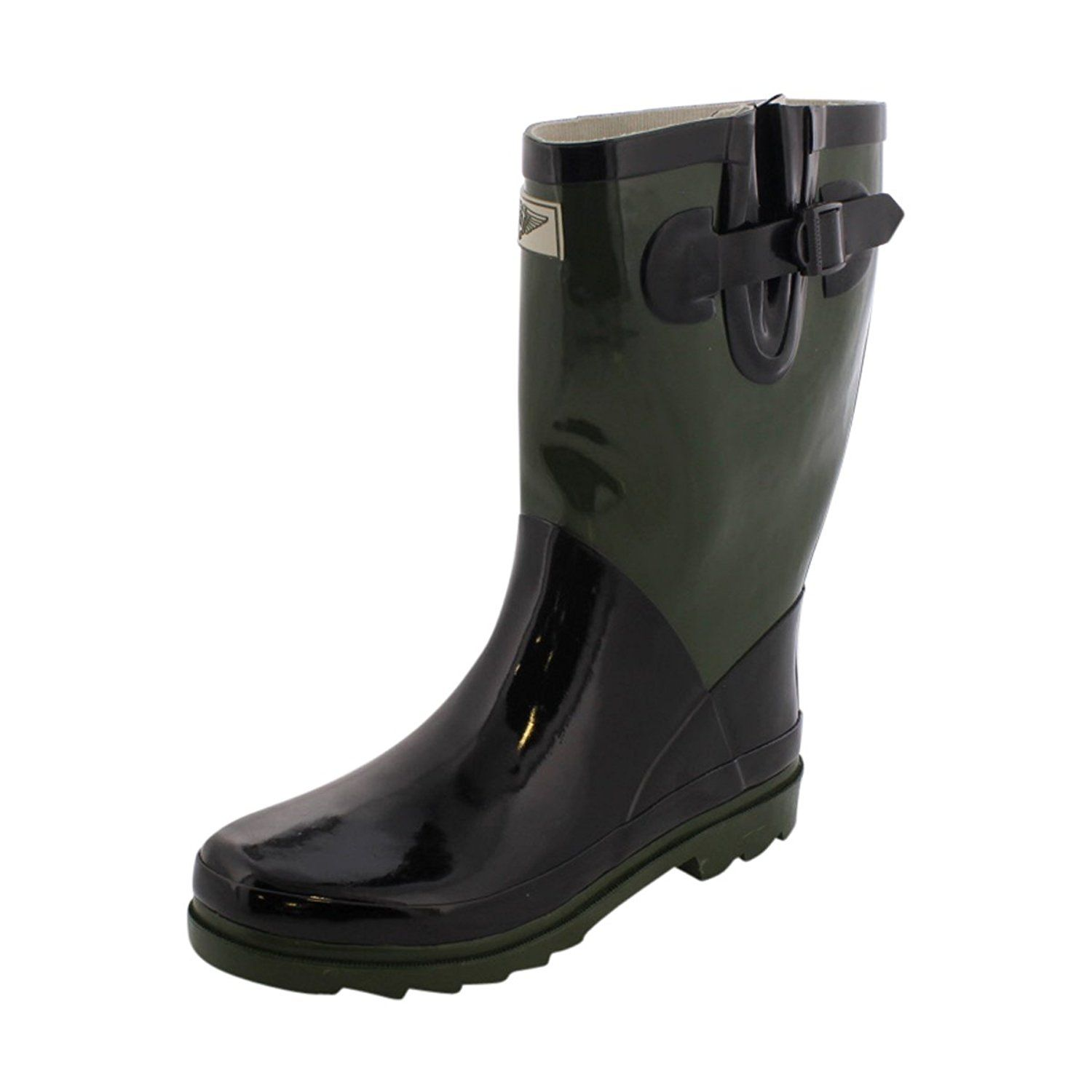 Forever Young - Women's Mid-High Rain Boot - Black/Army -- Read more  at the image link.