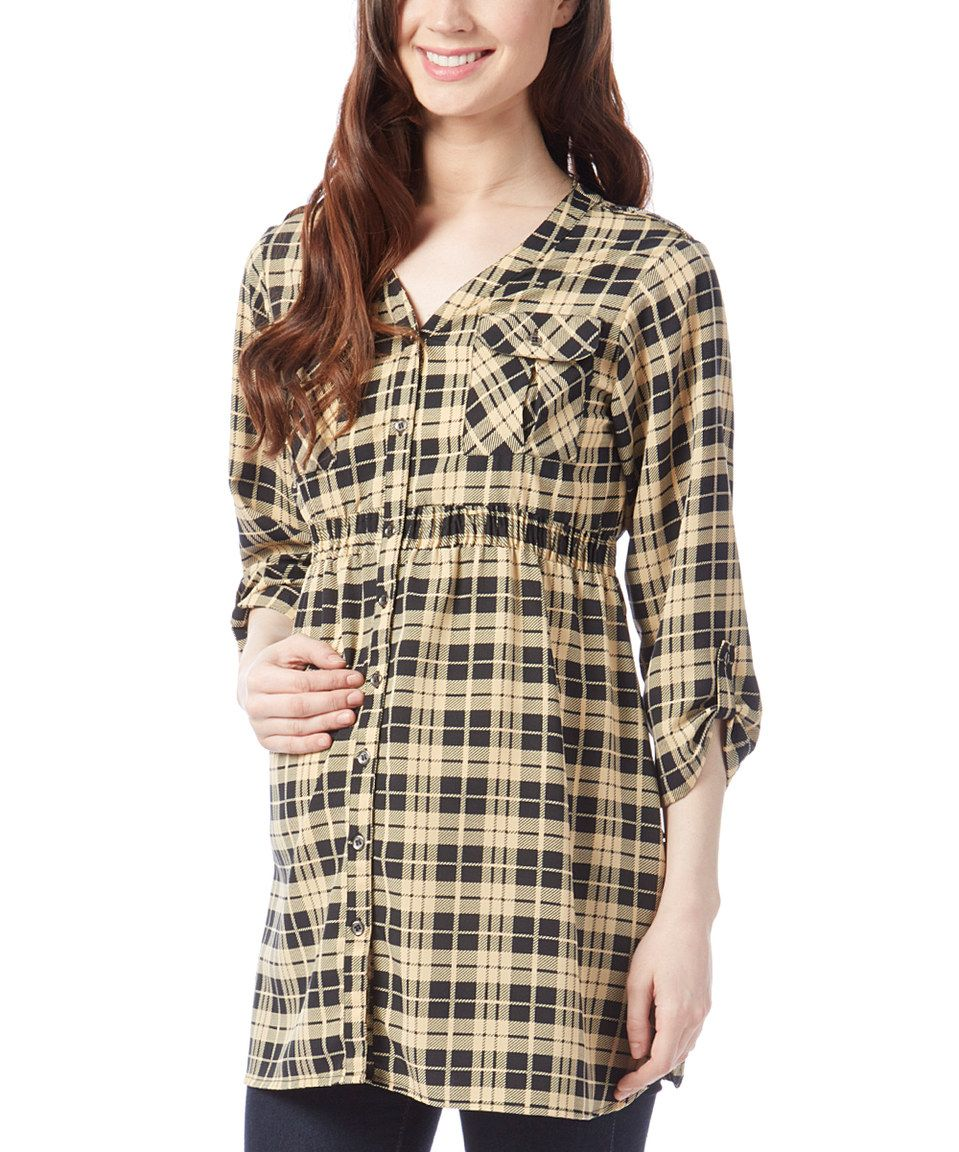 Times 2 Tan & Black Plaid Maternity Button-Up Top by Times 2 #zulily #zulilyfinds