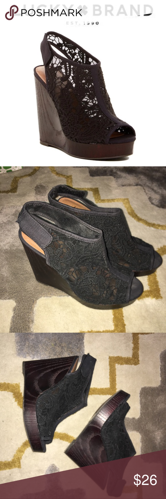 3a18b87655a Lucky Brand Wedges Lucky Brand Rezdah 2 Lace Platform Wedge Sandal Size   8.5 Features