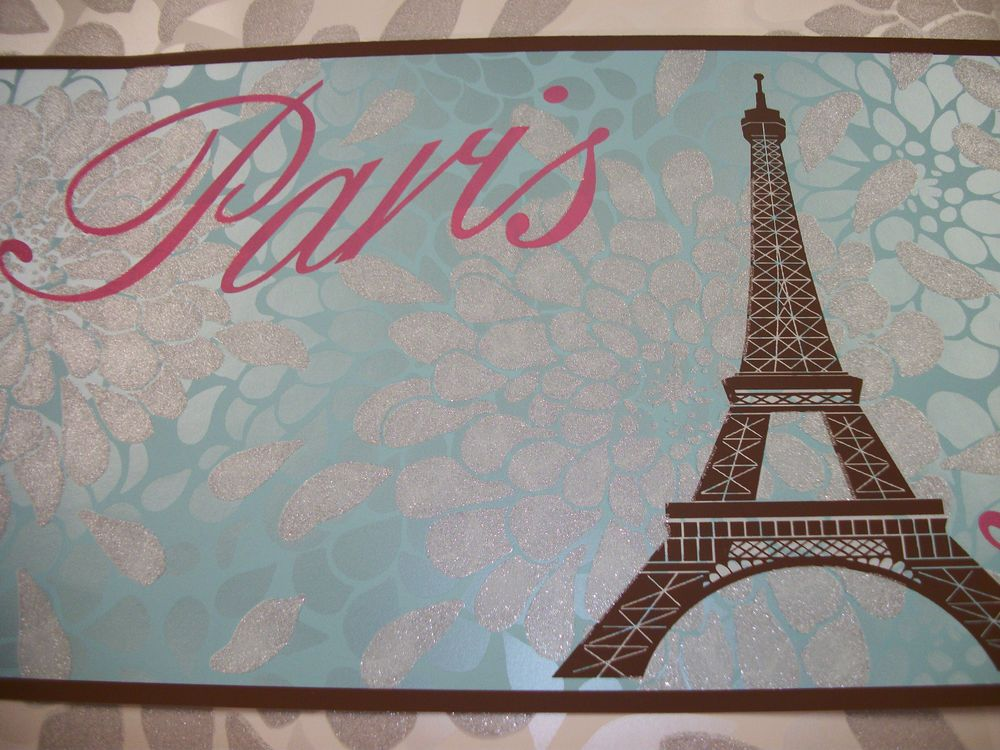 York Girls Paris Eiffel Tower Bonjour Glitter Aqua Wallpaper Border Ks2263b