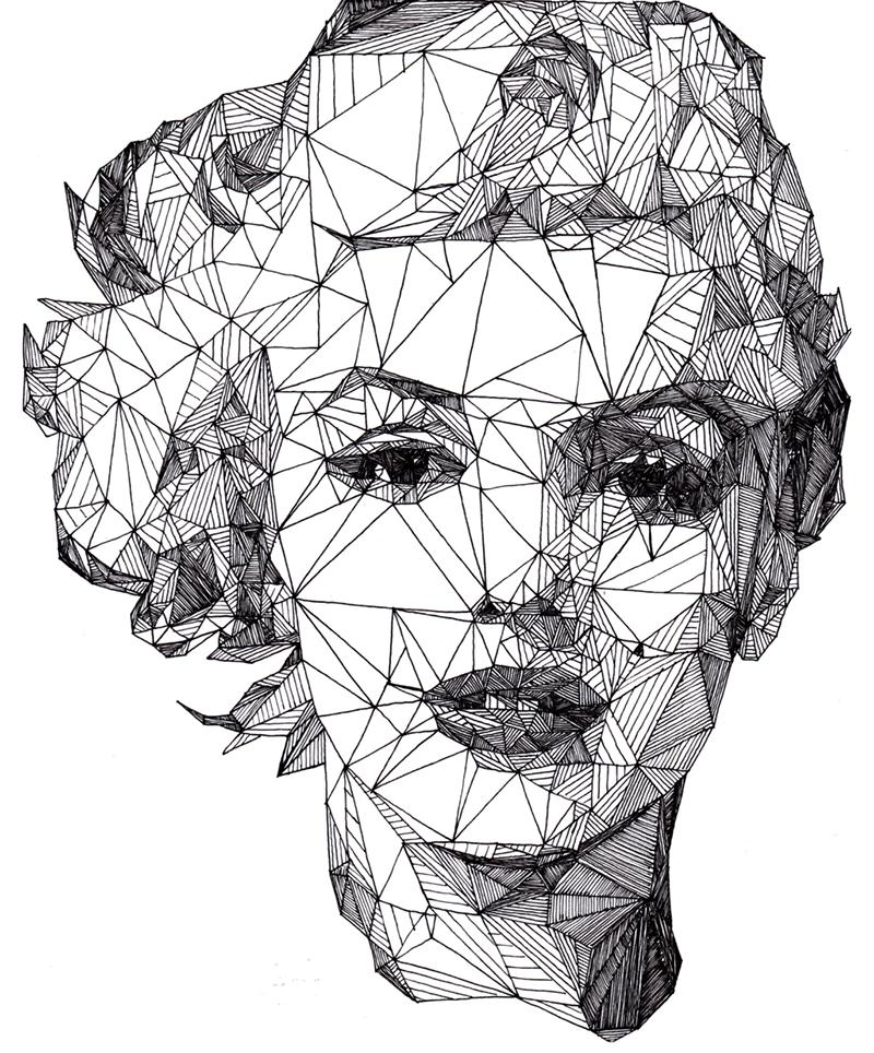 Triangulations ritratti in bianco e nero di josh bryan
