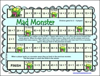 photo about Printable Math Board Games called Monster Math Department Video games for Truth Fluency Math