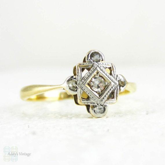 Art Deco Diamond Panel Ring Five Stone Ring In Square By Addy