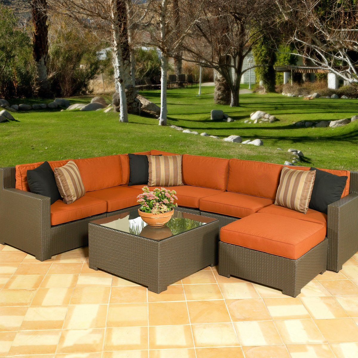 Exceptional Melrose All Weather Wicker Sectional Set   Seats Up To 7 · Porch  FurnitureFurniture SetsGarden ...