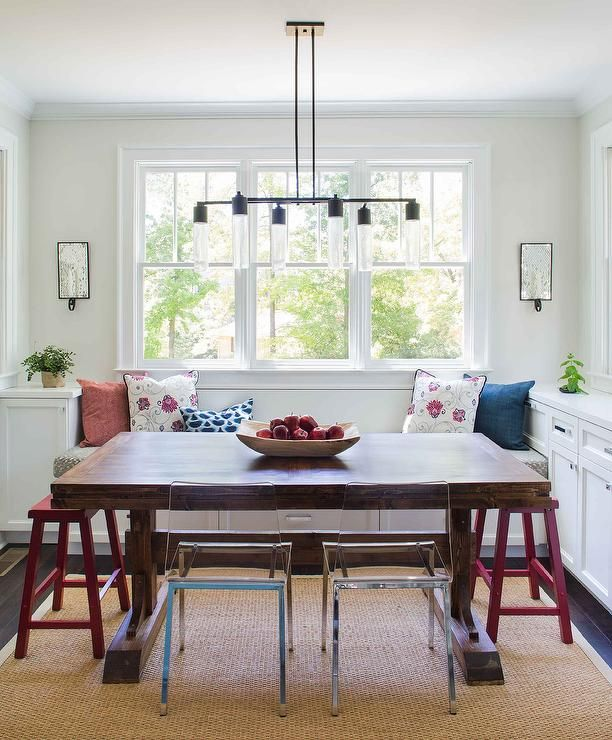 Marvelous Pretty Breakfast Nook Is Filled With A Built In Bench Window Seat Facing A  Dark. Trestle Dining TablesDining ...