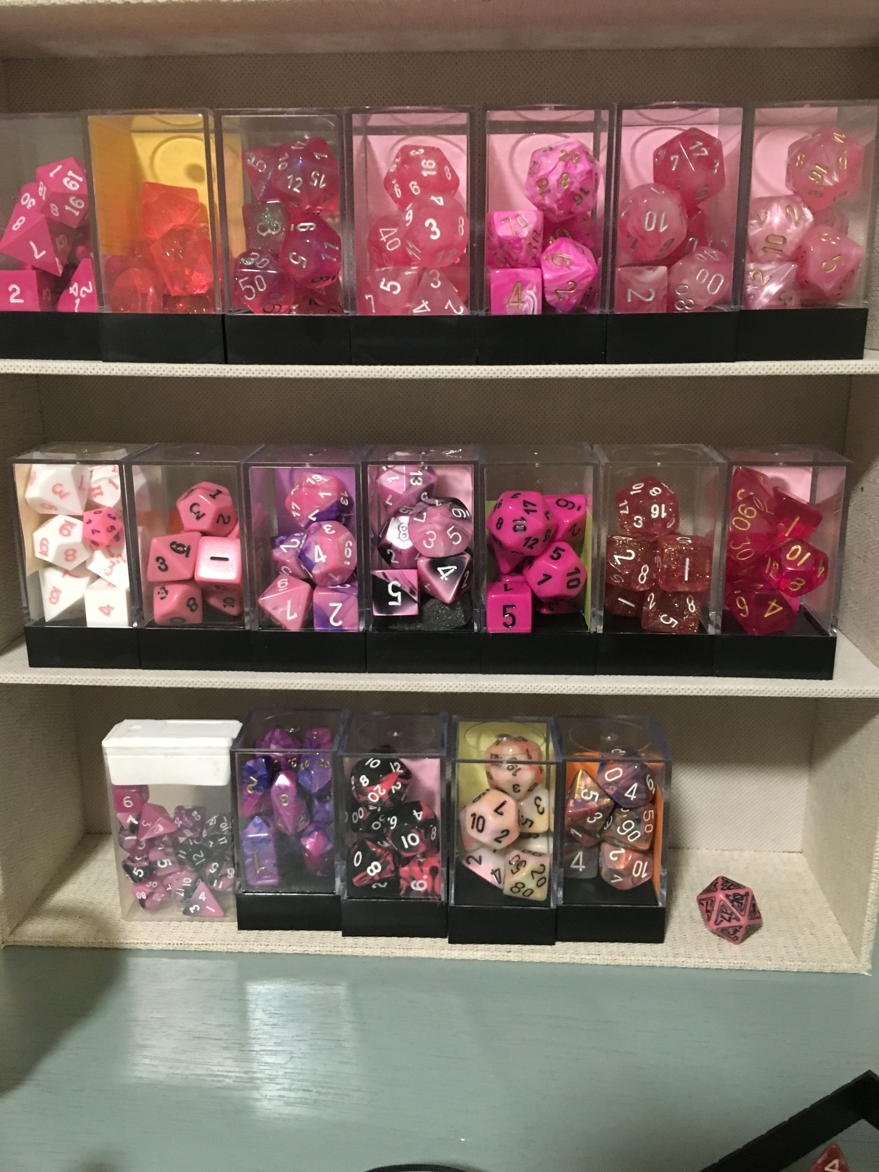 A picture of my pink polyhedral collection.