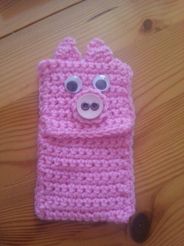Crochet pig phone case cover | Crochet porta celular /cell case ...
