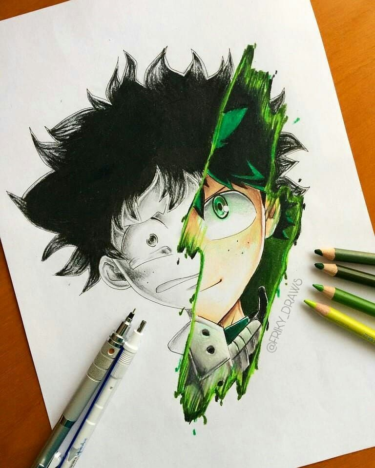 """Photo of Friky®   ⚡ Anime Arts ⚡ on Instagram: """"Izuku Midoriya done? Try to guess the next character I will make? if you guess right I will give you some food ?? #midoriya #mha #bnha…"""""""
