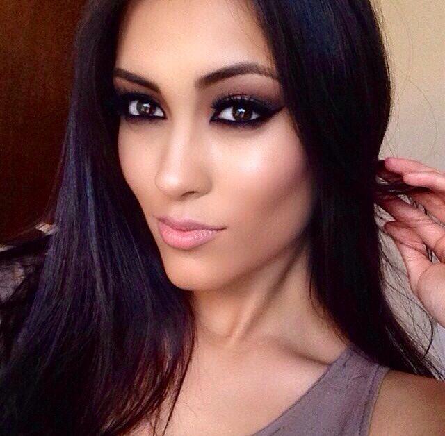 Gorgeous Makeup - Dark Brown Smokey Eye - Winged Cat Eyeliner - Lashes -  Nude Lips - Brown Eyes - Black Hair by Gabriella Ponzini