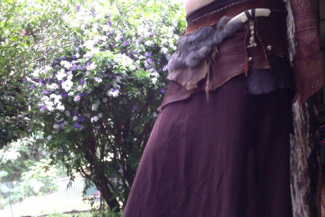 Tribal Deer Leather,Rabbit Fur,Deer Antler belt by WyldSong on Etsy