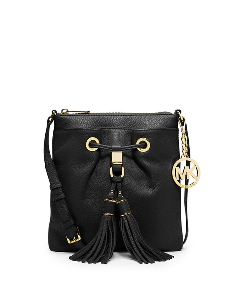 27225f00471d97 Michael Kors Camden Drawstring Tassel Crossbody Bag Black Leather   eBay
