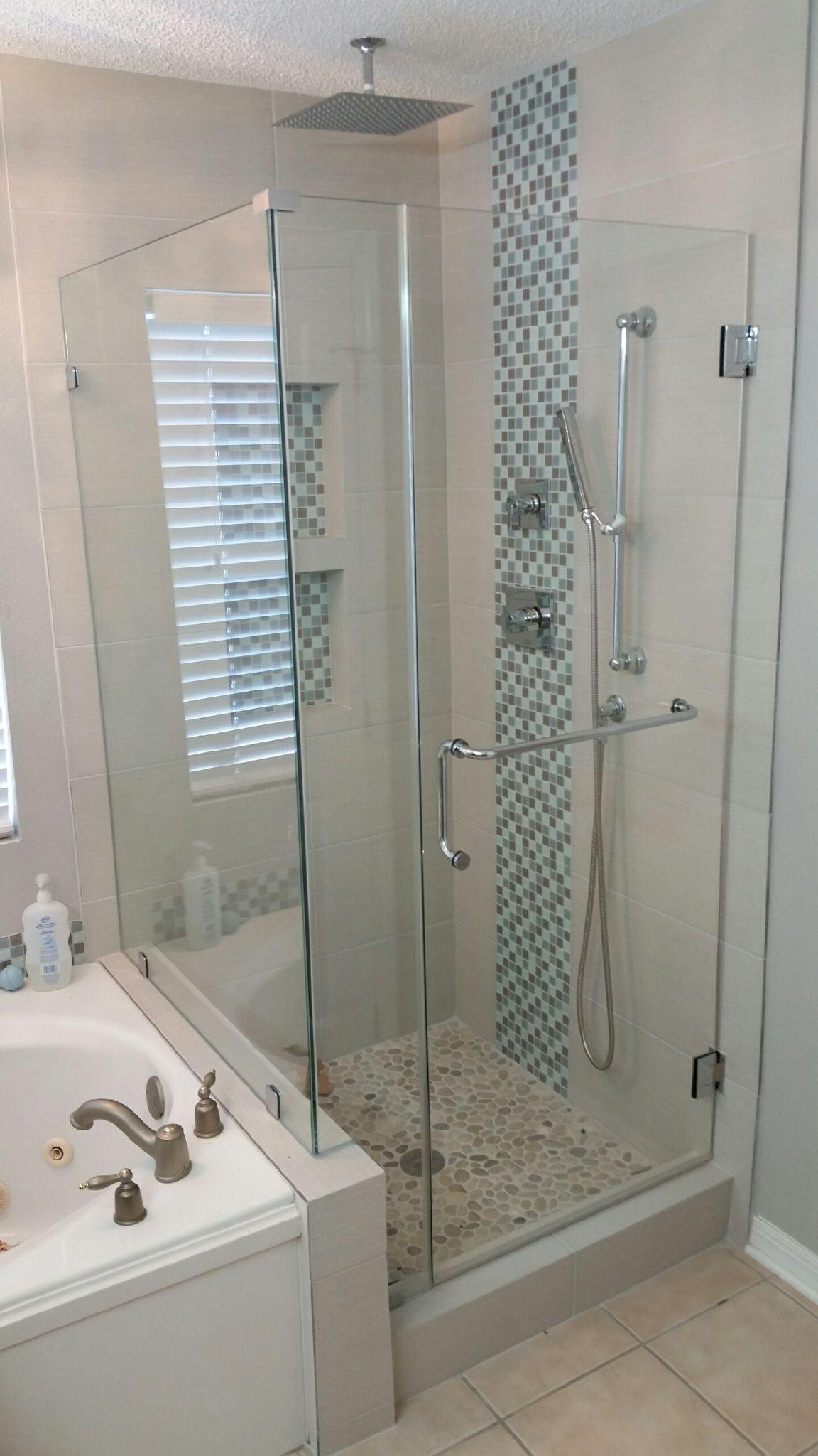 Java Tan And White Pebble Tile Bathrooms Remodel Bathroom