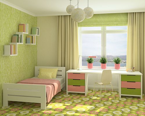 Sage Green And Baby Pink Bedroom