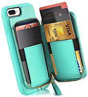 huge discount 36e4c 29b3b Amazon.com: iPhone 7 Plus Zipper Wallet Case, iPhone 8 Plus Case ...