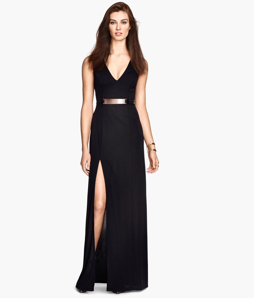Long black maxi dress with metal accent   high side slit à la Angelina.  c926b8bba