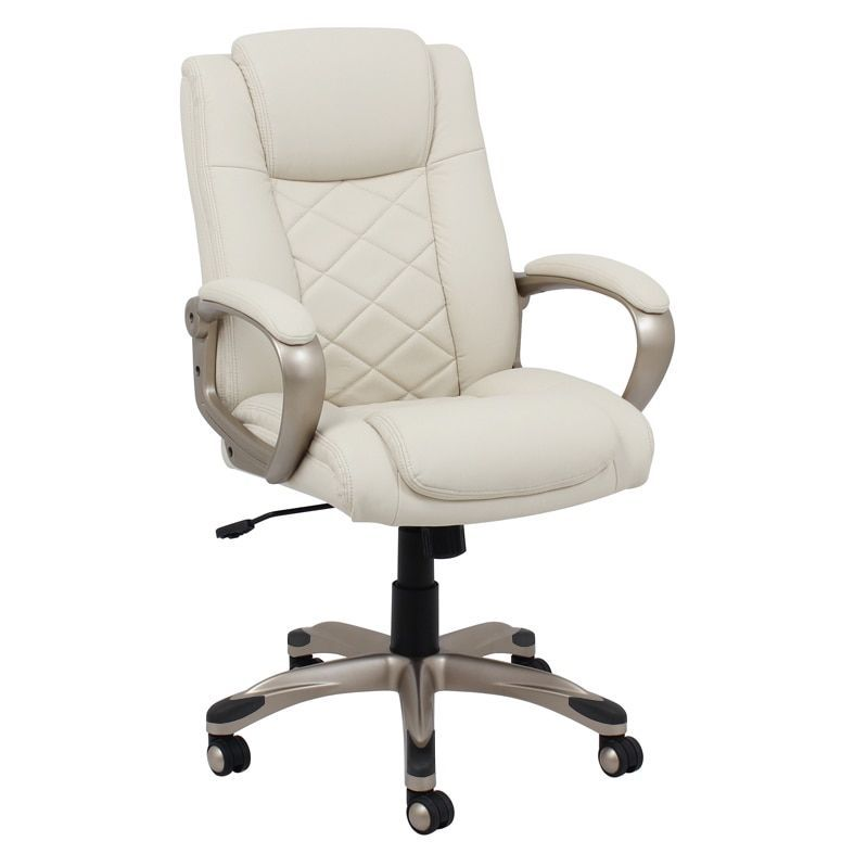 Executive Chair, White Leather Office Chair