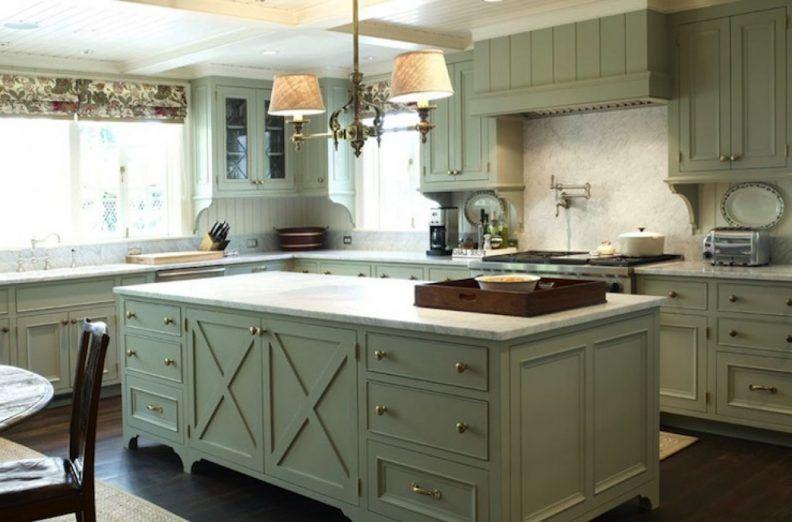 French Country Kitchen Beautiful Tile Backsplash Large Window Floor