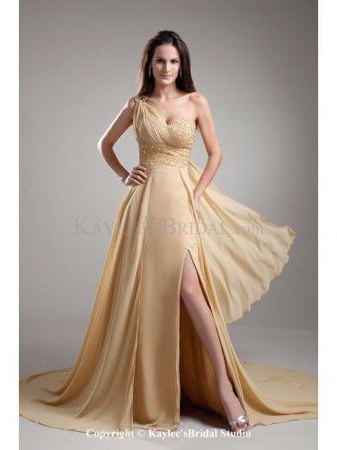Chiffon One-Shoulder Chapel Train A-line Crystals Prom Dress