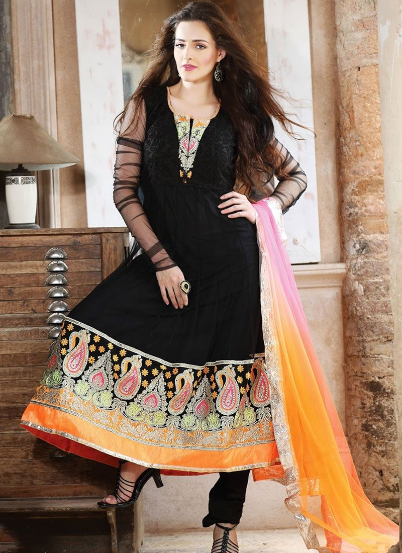 Gorgeous black anarkali salwar kameez churidar pinterest