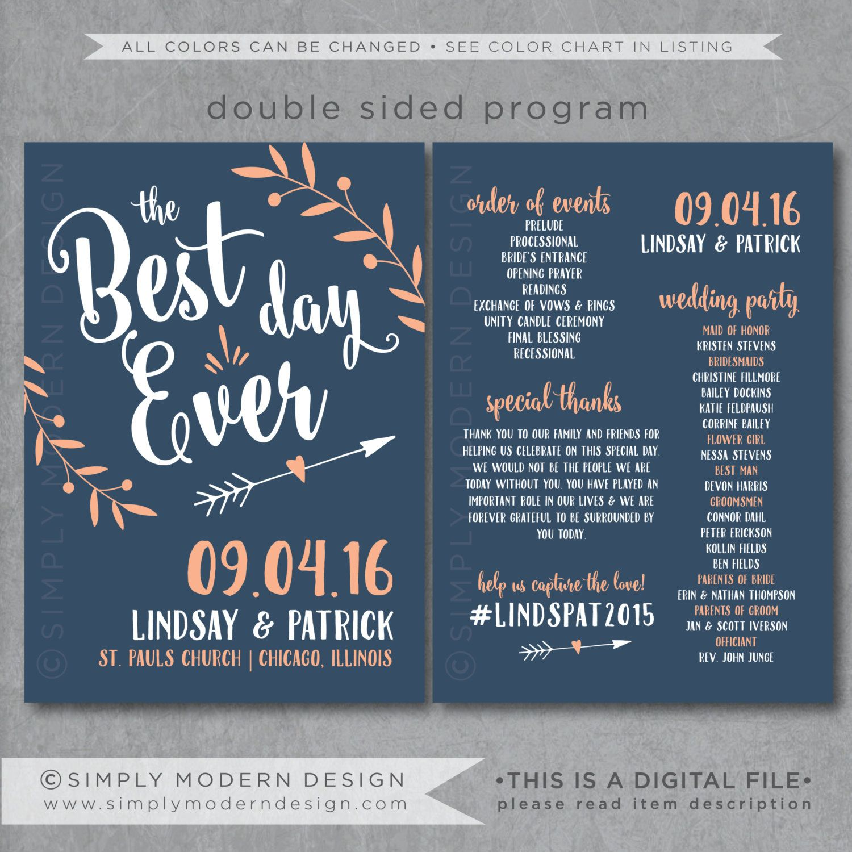 The best day ever wedding program ceremony wedding fan program