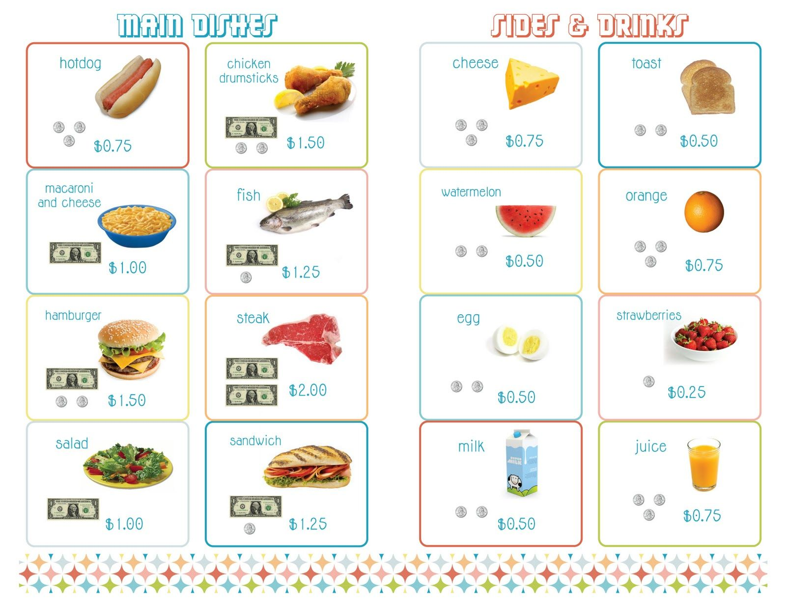 Delightful Distractions: PRINTABLE Menus For A Math Restaurant  Free Printable Restaurant Menu Template