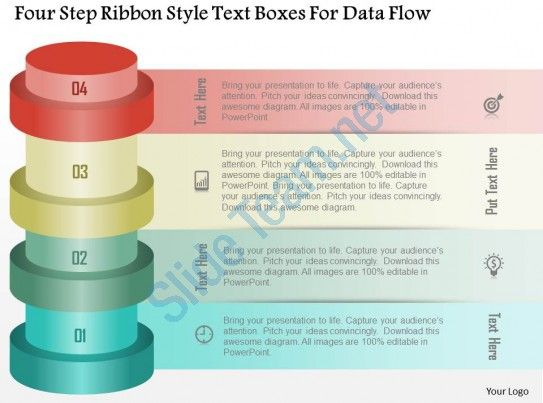 0115 four step ribbon style text boxes for data flow powerpoint - data flow chart template