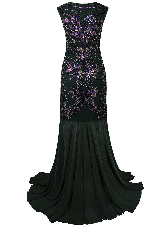 Vijiv s long prom dresses v neck beaded sequin gatsby maxi
