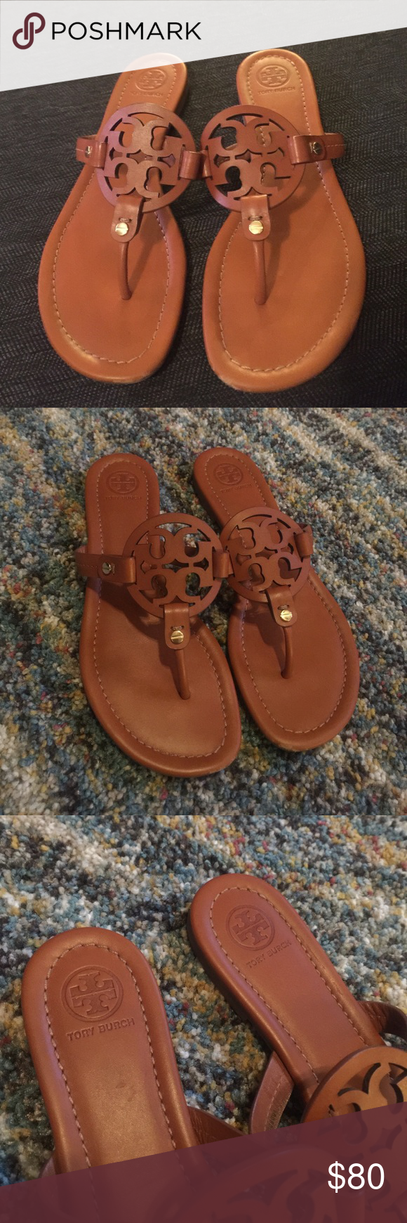3bdd8428b16594 Tory Burch Miller Sandals! Size 8 leather