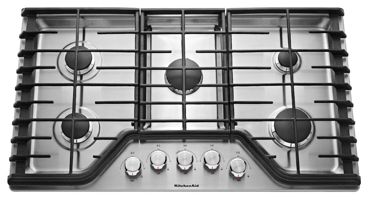 Kitchenaid 36 builtin gas cooktop stainless steel