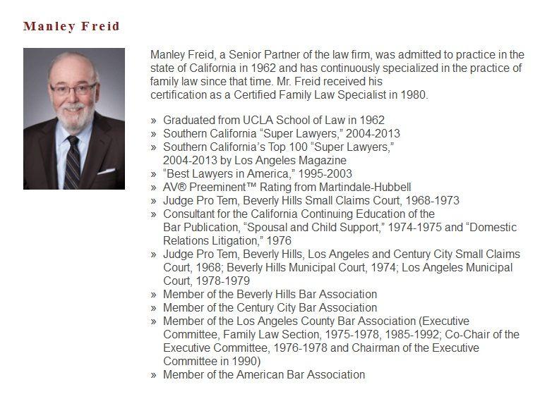 Manley Freid Partner at Freid and Goldsman Family law