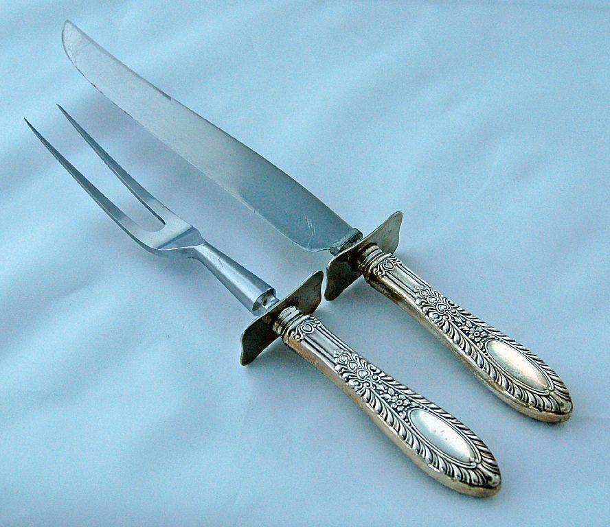 Manchester Sterling Silver Gadroonette Carving Knife and Fork ~ from Antik Avenue on Ruby Lane